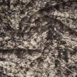 Хутро штучне середньоворсове коричнево-бежеве павутинка, ш.150