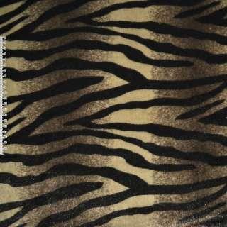 Мех искусственный в коричнево-бежевые полосы с черной абстракцией ш.160