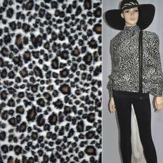 Хутро штучне середньоворсове біле під чорного леопарда ш.150