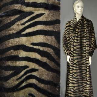 """Хутро штучне коричнево-шоколадний з чорним """"зебра"""" ш.170"""