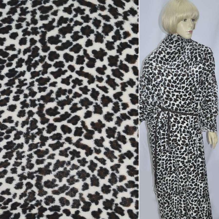"""мех молочный с коричнево-черным """"леопард""""  ш.170"""