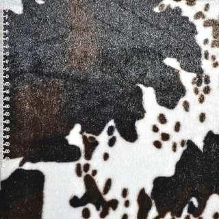 """Мех искусственный средневорсовый белый с темно-коричневым """"корова"""" ш.170"""