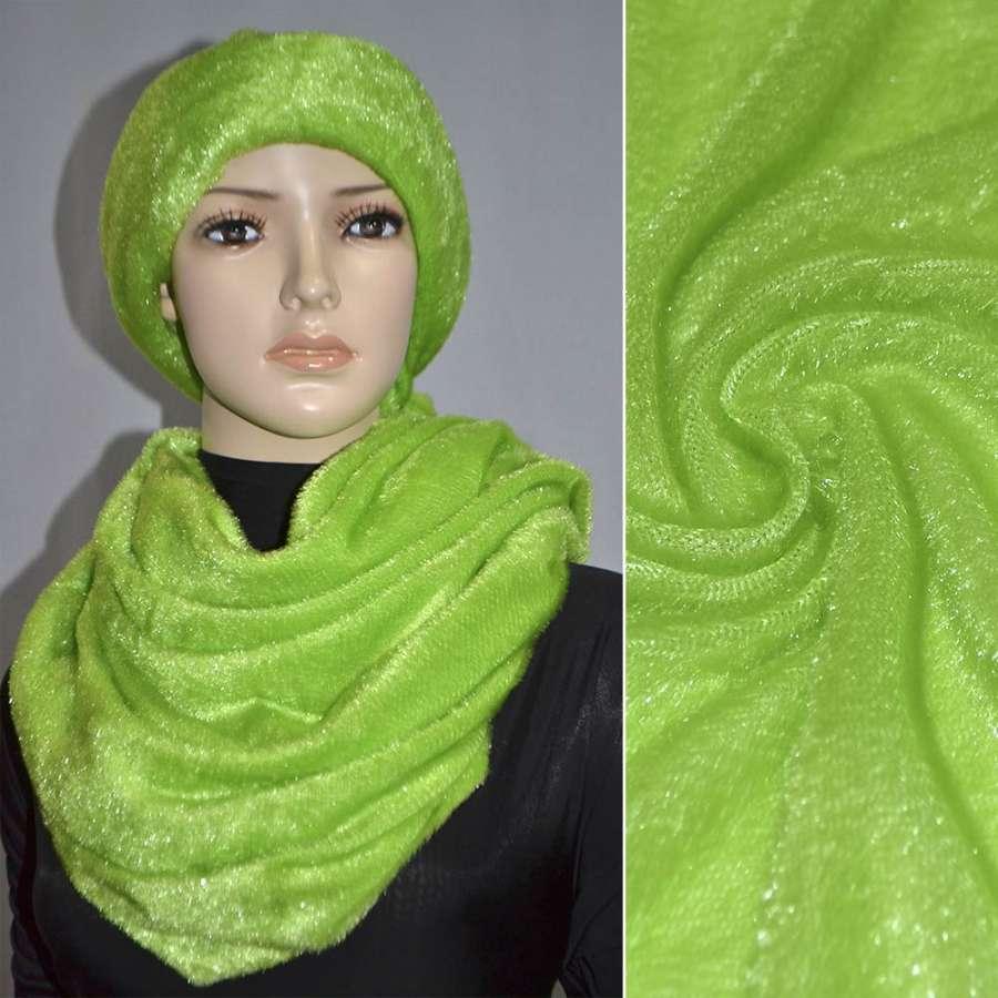 мех иск. светло-зеленый однотонный, ш.150