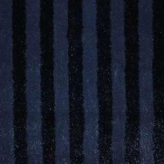 Мех искусственный темно-синий полосы с блестками, ш.150