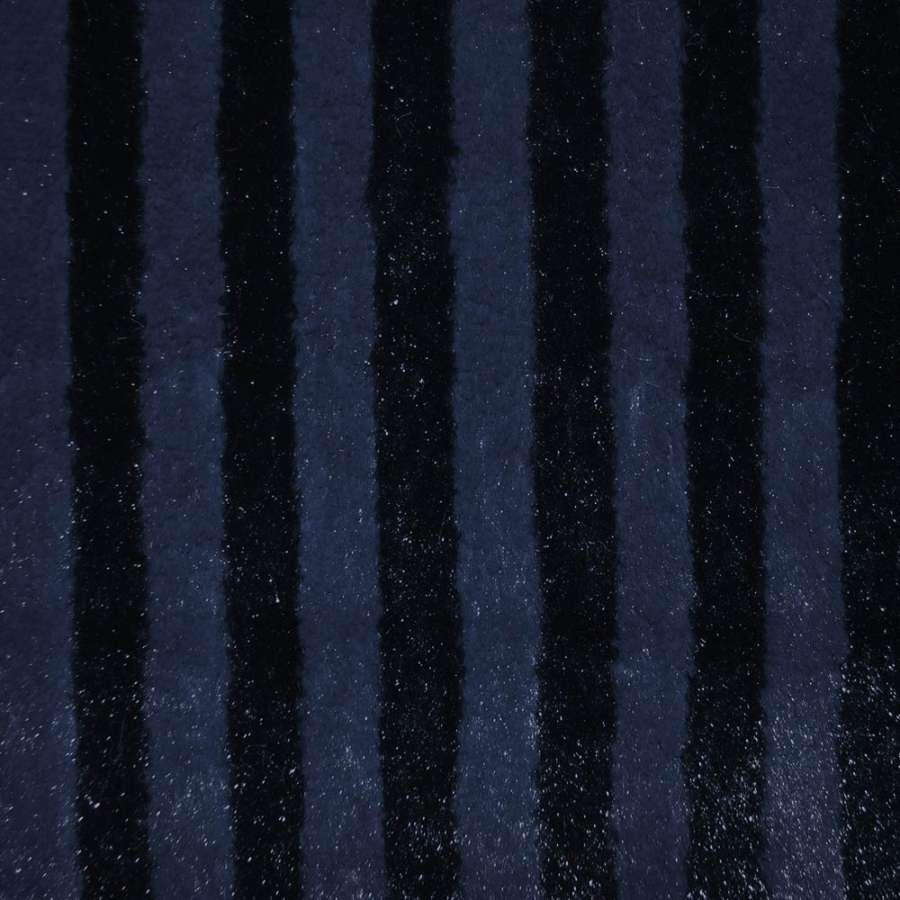 мех иск. т/синий пол. с блестками, ш.150