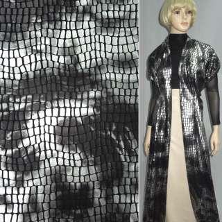 Мех искусственный низковорсовый черный с серебристыми прямоугольниками (штамп) ш.160