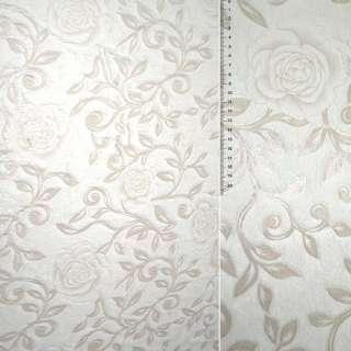 Мех искус. н/ворс. молочн со штампов. розами ш. 160 см