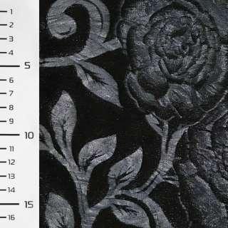 Мех искусственный черный со штампованными синими розами ш.150