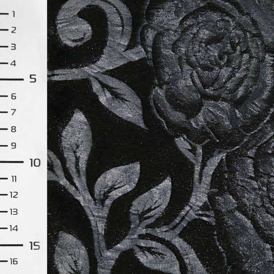 мех черный со штамп. синими розами ш.150