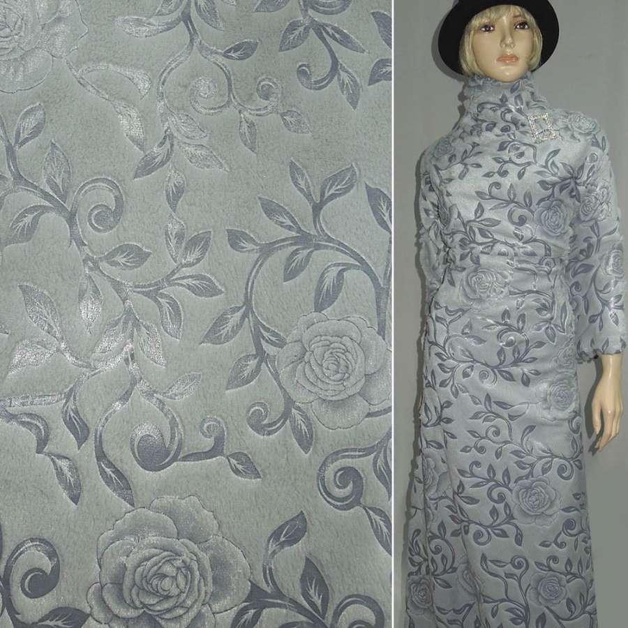 мех серо-голубой со штамп.  розами ш.150