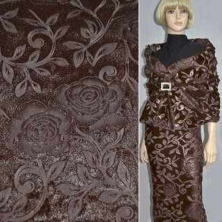 Мех искусственный коричневый со штампованными розами ш.150