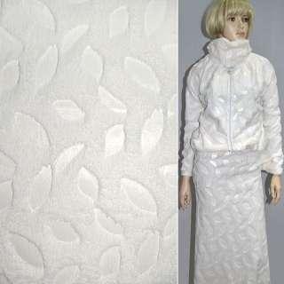 Мех искусственный кремовый со штампованными листьями ш.150