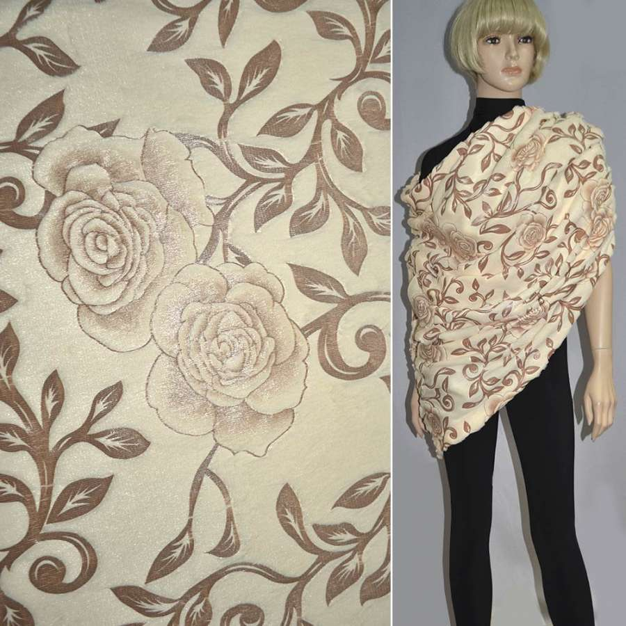 мех персиковый со штамп. коричневыми розами ш.150