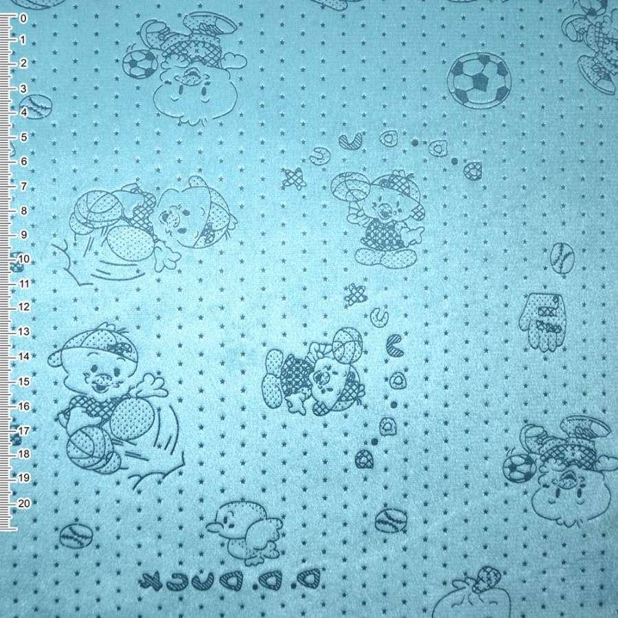 мех к/в голубой со зверьками и звездами ш.160