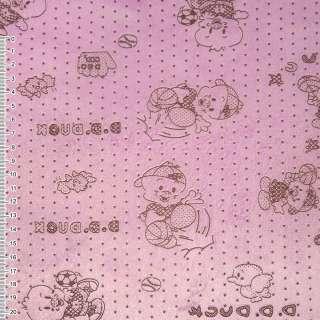 Мех искусственный коротковорсовый розовый со зверьками и звездами ш.160