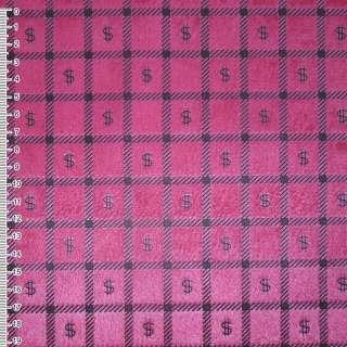"""Мех искусственный коротковорсовый розово-малиновый в квадраты """"$"""" ш.160"""