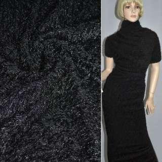 Мех вязан. черный ш.160