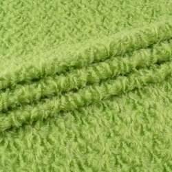 """Мех искусственный светло-зеленый """"завитки"""" блестящий, ш.150"""