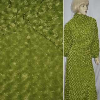 мех зеленый с розочками искусственный, ш.150