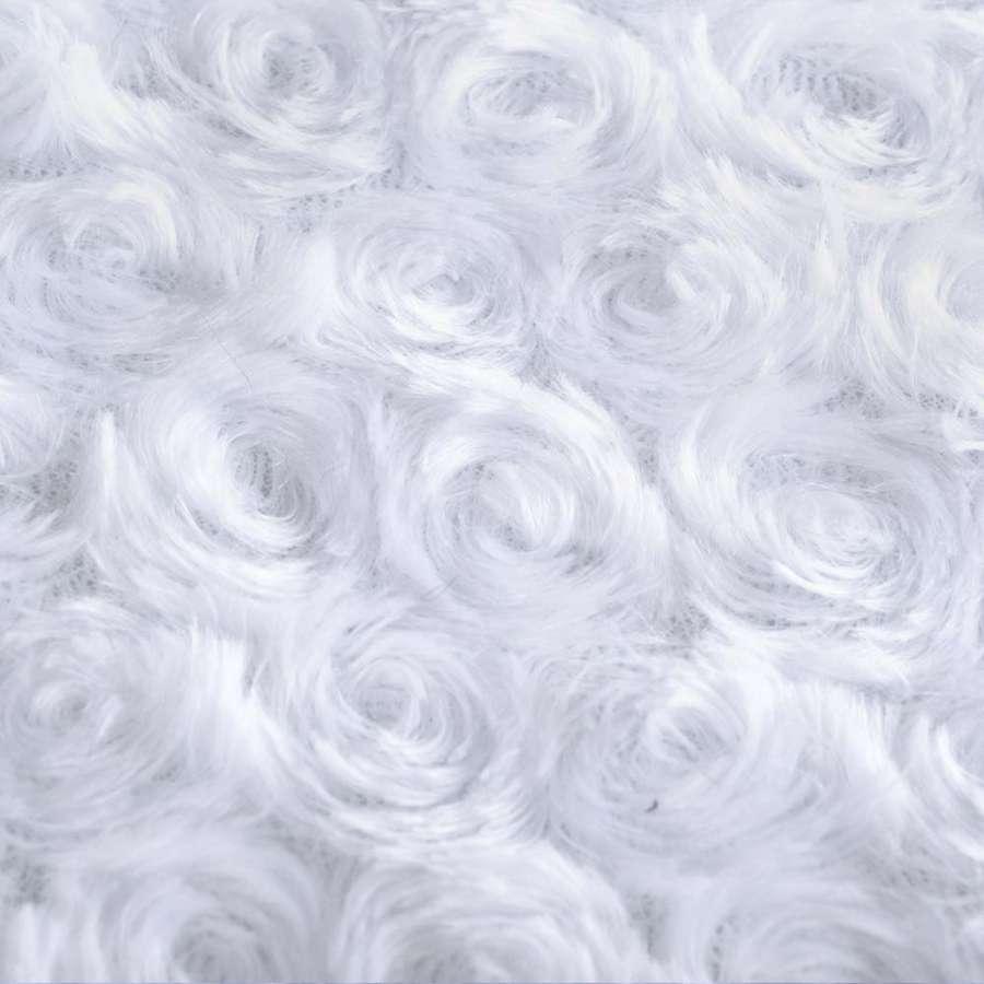 """мех искусств. белый """"розочки""""  ш.160"""