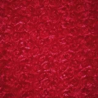 Мех искусственный красный с розочками ш.205