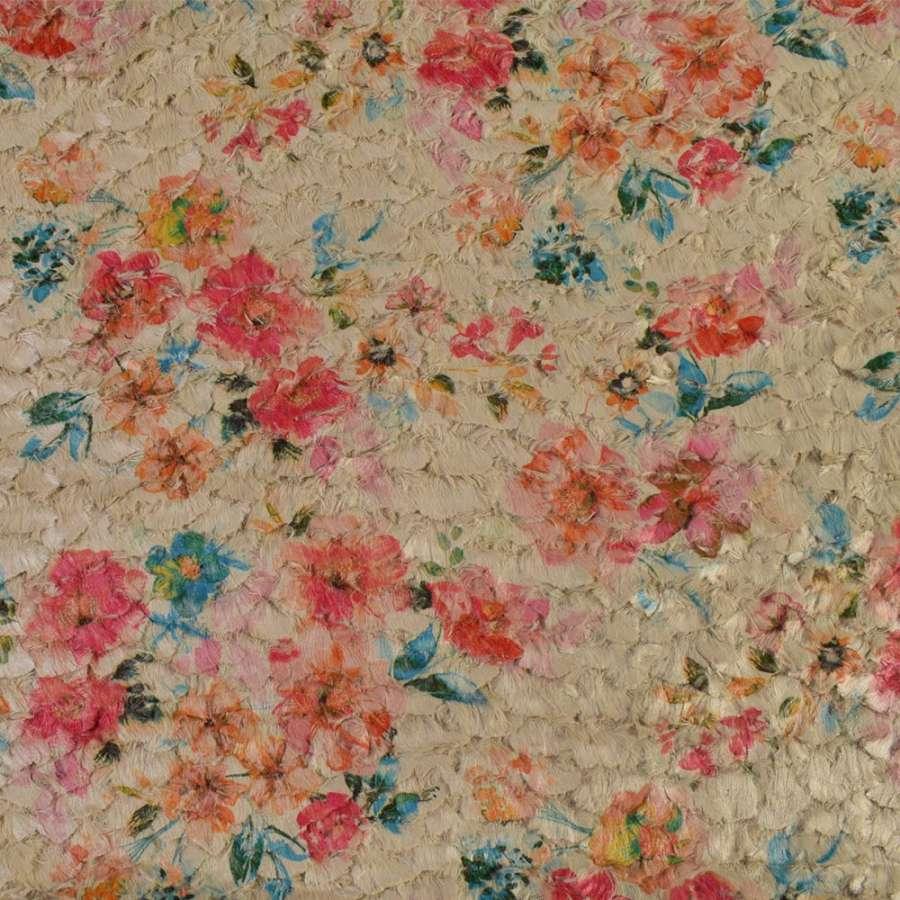 Мех стриженый бежевый в цветы, ш.145