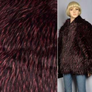 """Хутро позов. """"Fellimitat"""" єнот вишнево чорний, ворс-60мм, ш.167"""
