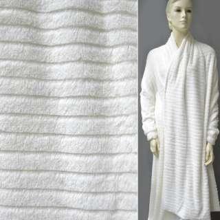 Хутро штучне біле зі стриженими смужками ш.170