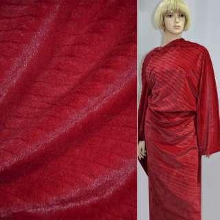Хутро штучне червоне коротковорсове з смужкою ш.170