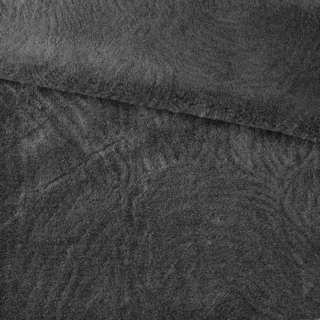 Хутро мутон з тисненням сірий темний, ш.160