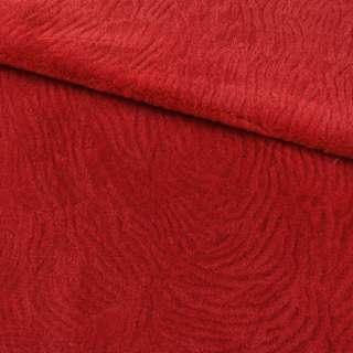 Мех искусственный мутон с тиснением красный, ш.160