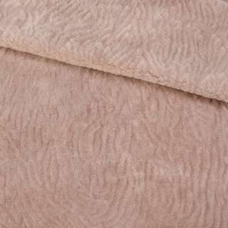 Хутро мутон з тисненням рожево-бежевий, ш.160