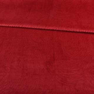 Мех искусственный мутон с тиснением красный светлый, ш.160