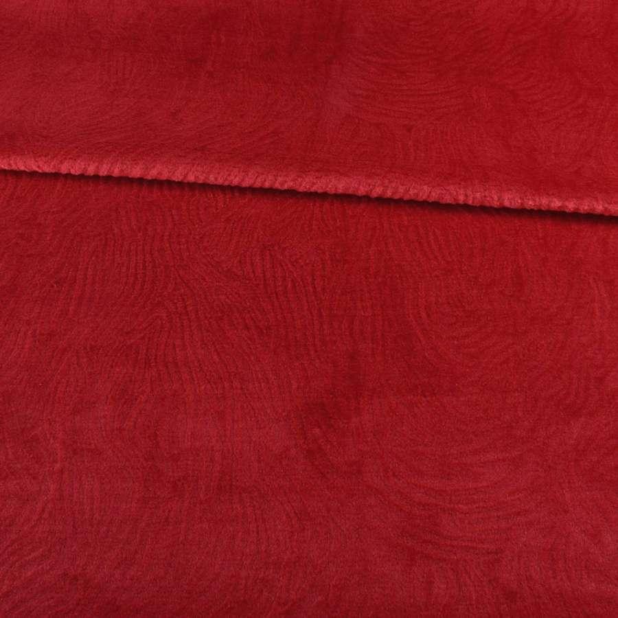 Мех мутон с тиснением красный светлый, ш.160
