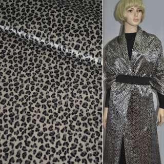 Хутро штучне коротковорсове пісочне з чорним леопардом ш.150