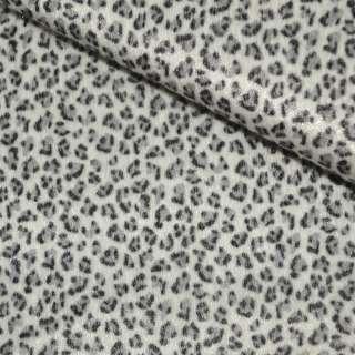 Хутро штучне коротковорсове біле з чорним леопардом ш.150