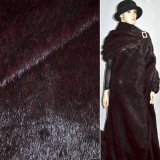 Хутро штучне середньоворсове темно-бордове з чорним ворсом, ш.150