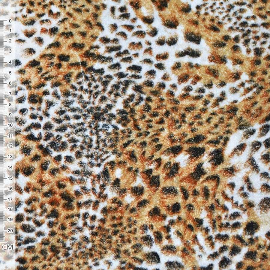 Велюр рыжий принт леопард ш.150