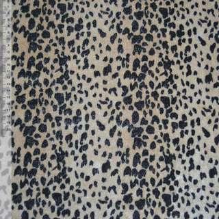 Велюр светло коричневый черный принт леопард ш.150