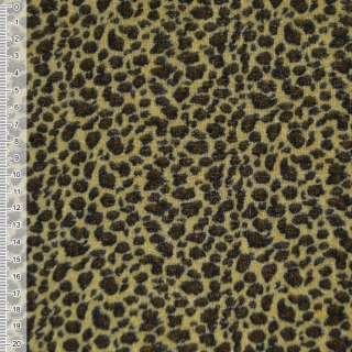 Велюр желто черный принт леопард ш.150