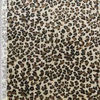 Велюр бежево коричневый принт леопард ш.150