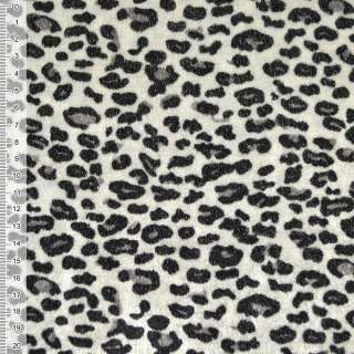 Велюр молочно-серый черный принт леопард ш.150