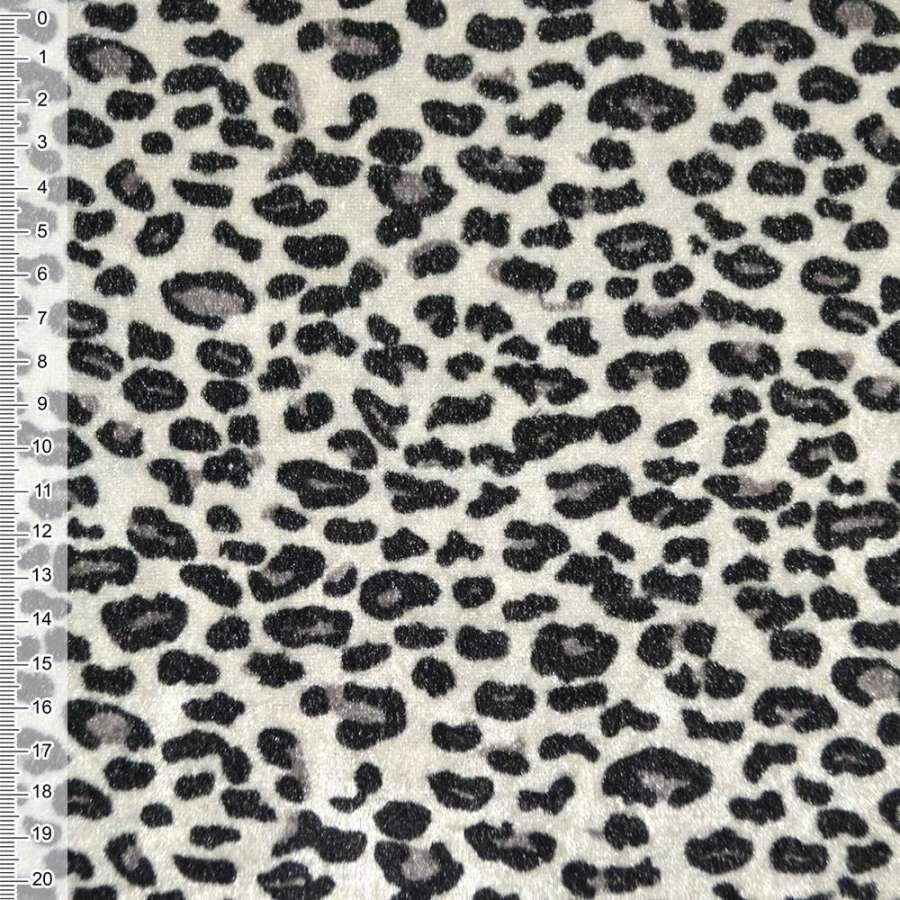 Велюр молочно серый черный принт леопард ш.150