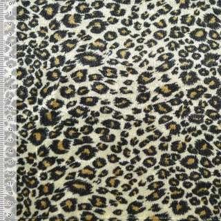 Велюр молочно-оливковий принт леопард ш.150