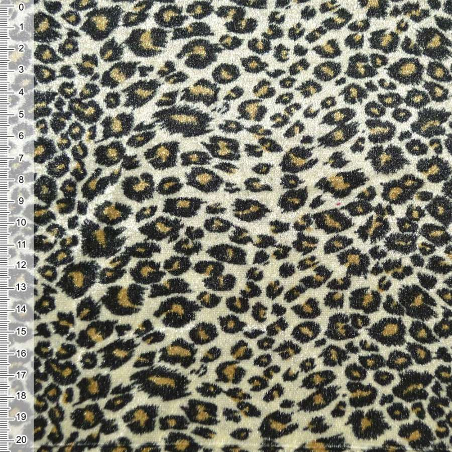 Велюр молочно оливковый принт леопард ш.150