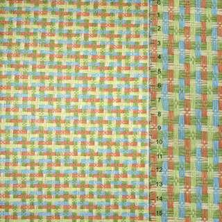 Рогожка із целюлози на Фліз з кол. перепл: зелено оранжево-блакитна, ш.150