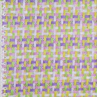 Рогожка из целюлозы на флиз с цв. переплет: розово- фиолетово-салат, ш.150