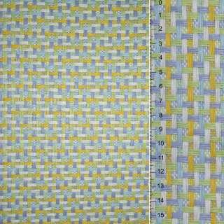 Рогожка из целюлозы на флиз с цв. переплет: салат-желто- бело-серая, ш.150