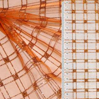 органза помаранчева з блискучими квадратами ш.160