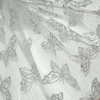 """органза молочна з срібла. """"Метеликами"""" ш.150"""